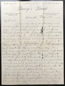 A letter written by George Busey to Kate Baker Busey.