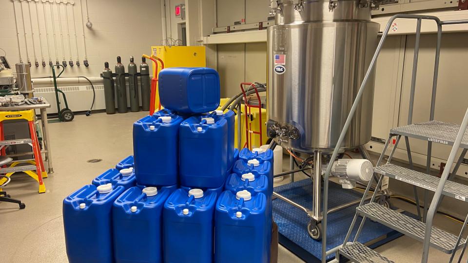Sanitizer being made in lab