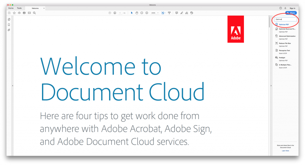 Screenshot of Adobe with search bar circled