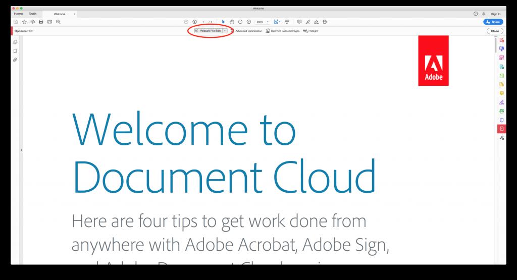 Screenshot of Adobe with reduce file size circled