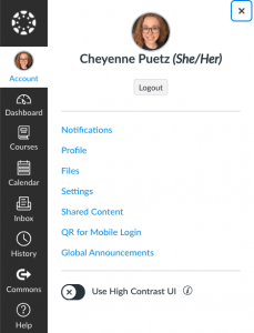 Screenshot of the sidebar on Canvas with Account selected
