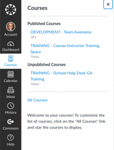 Screenshot of sidebar on Canvas with Courses selected