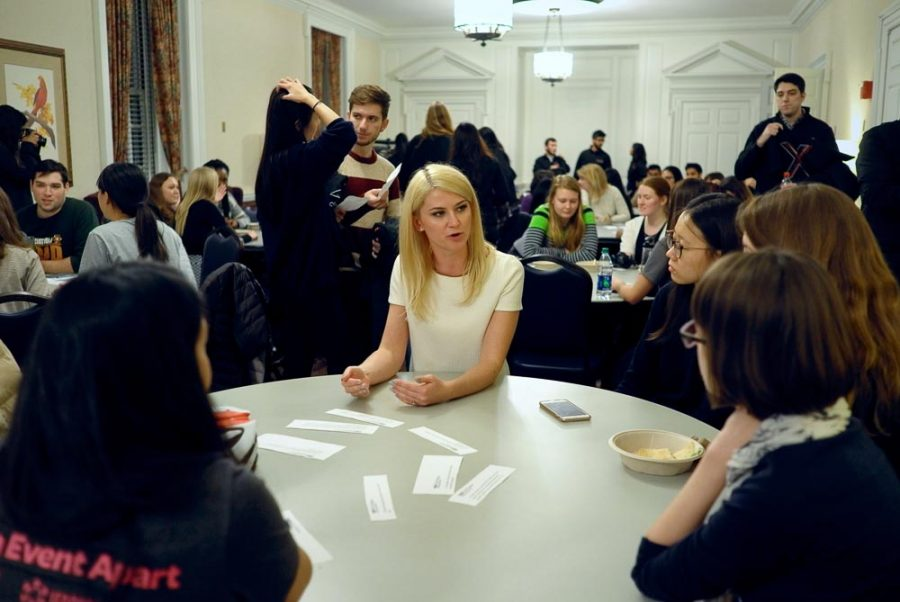 Kalina Borkiewicz leading a group discussion at the end of the TEDxUIUC event