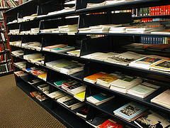 Journal publications on library shelf