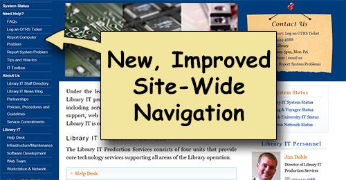 Screen shot showing left hand site wide navigation