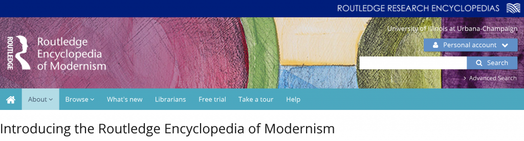 Screenshot of the Routledge Encyclopedia of Modernism header
