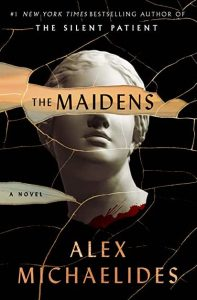 """A black cover with a bust of a Grecian marble statue with the title """"The Maidens"""" covering the eyes."""