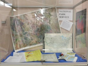A display celebrating the centennial of the signing of the National Park Service Organic Act in 1916. Display located outside of the Map Library during early Spring 2016.