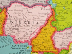 Note the bright pink line near the Nigeria-Cameroon border demarking the boundary of British Cameroons.