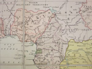 Although not clearly marked, diagonal lines in eastern Nigeria show the location of the British Cameroons.