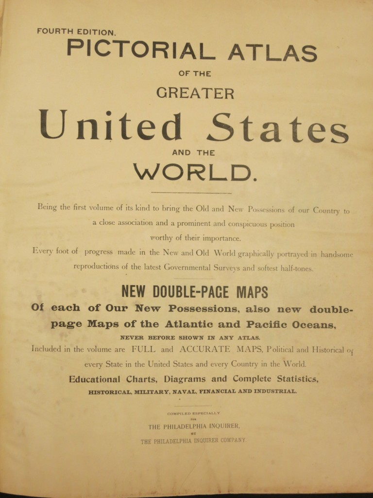 Title Page from Pictorial Atlas of the Greater United States and the World