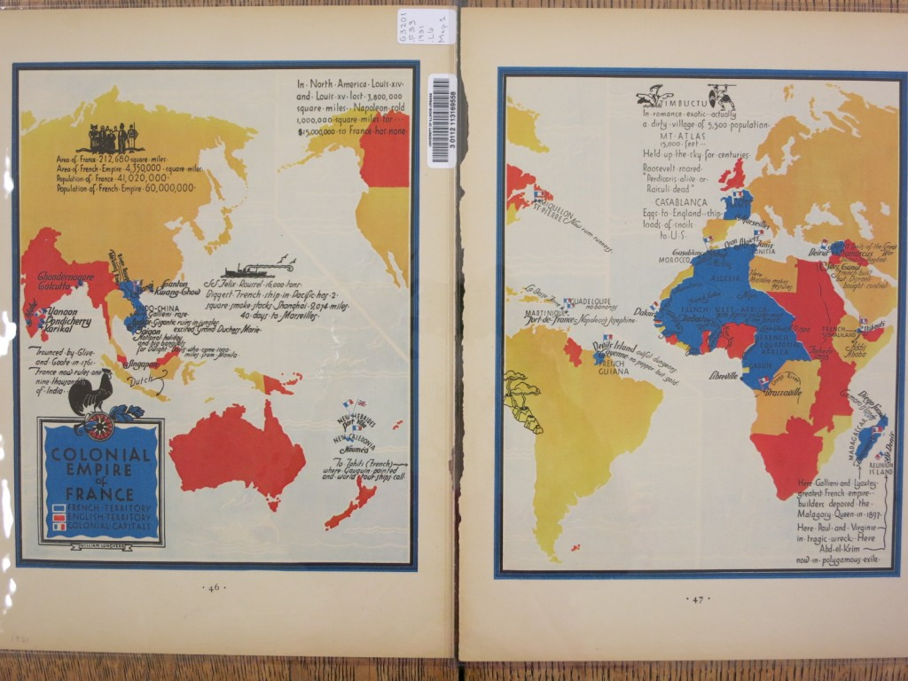 French empire in blue; British empire in red.