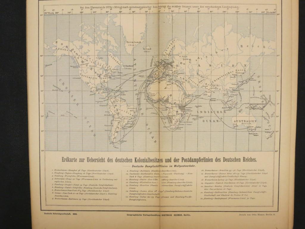 Erdkarte zur Uebersicht des deutschen Kolonialbesitzes und der Postdampferlinien des Deutschen Reiches