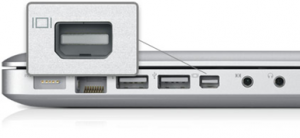 Image of a mini display port on a laptop.