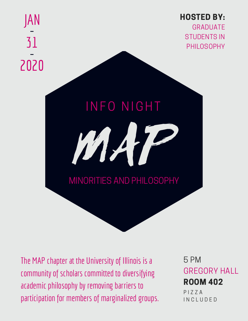 Flyer for the MAP Chapter Informational Event on January 31st at 5 pm in room 402 of Gregory Hall