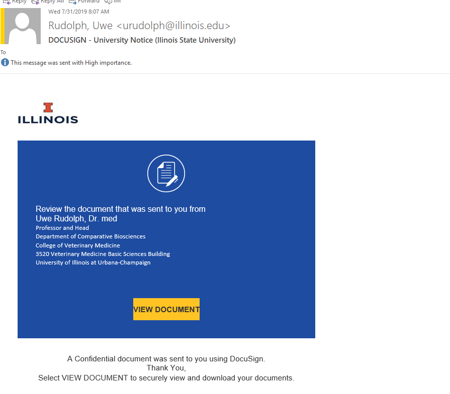 DOCUSIGN email pretending to be an official university notice for Illinois State