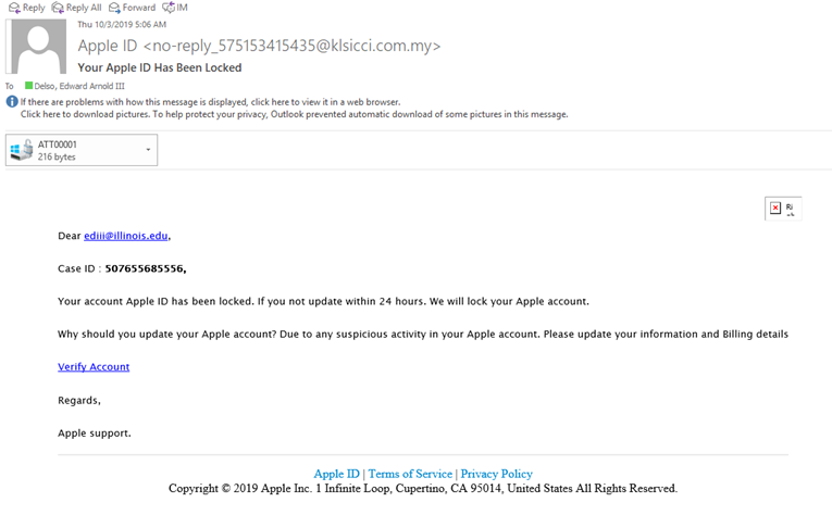 Image of phishing attempt purporting to be Apple, but coming from @klsicci.com.my