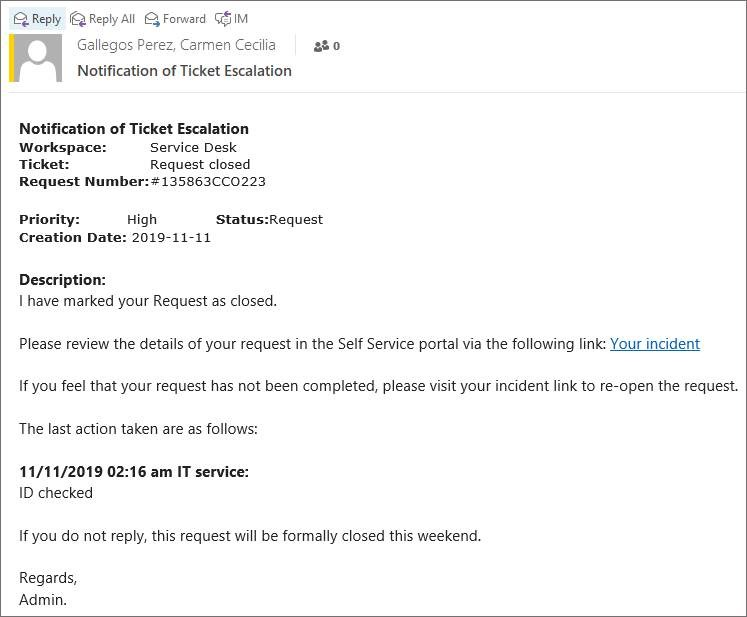 Image of scam email purporting to be a request ticket incident summary