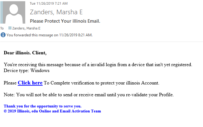 Image of phishing email admonishing you to verify your account. Claims there was an invalid login from an unregistered device.