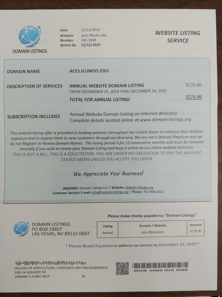 Image of paper soliciting payment for listing the website aces.illinois.edu
