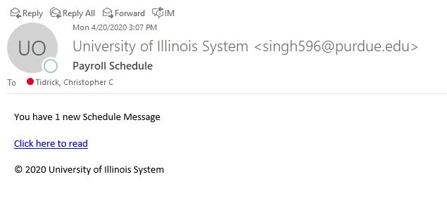 mage of email purporting to be a payroll-related message from the University of Illinois System.