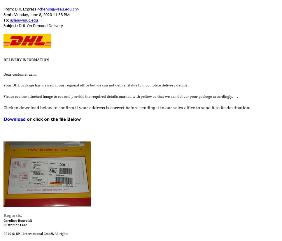 Image of fake DHL delivery notice including a photo of a package