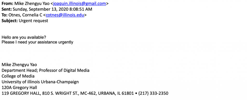 Email impersonating Mike Yao, Dept. Head in the College of Media