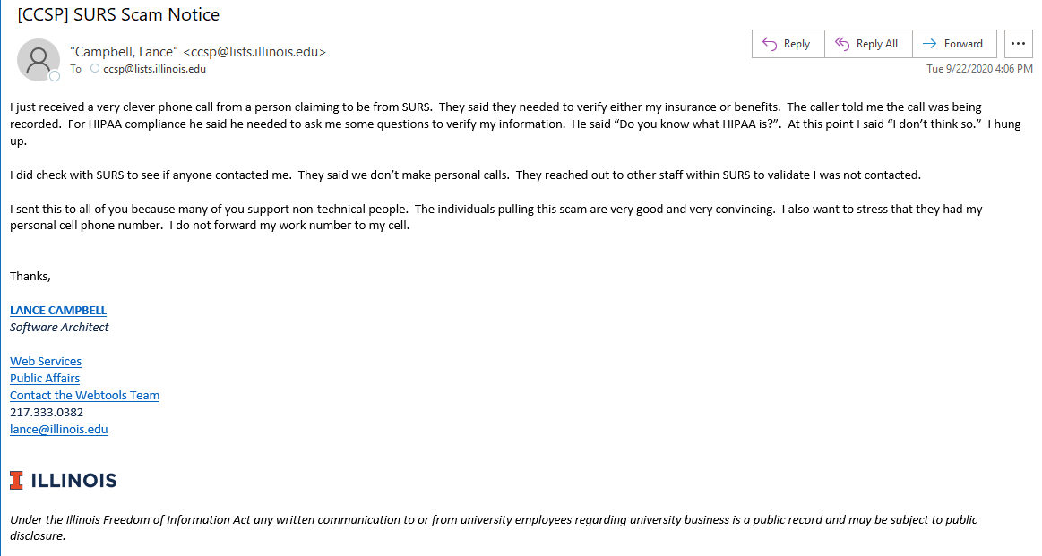 Screenshot of email from Lance Campbell describing scam format. Details in caption below.