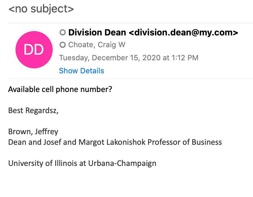 Email impersonating Dean