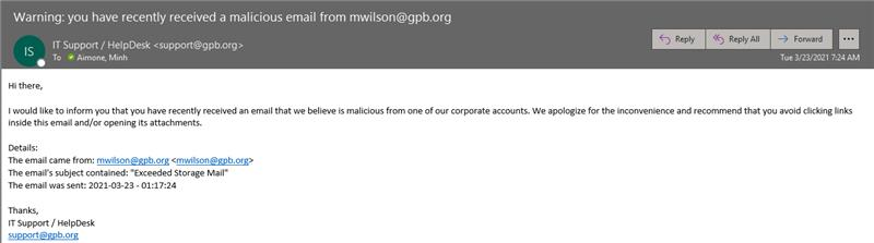Image of email message claiming to be from IT Support/Help Desk