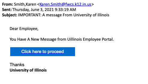Email pretending to be about the Employee Portal with a big suspicious button to click