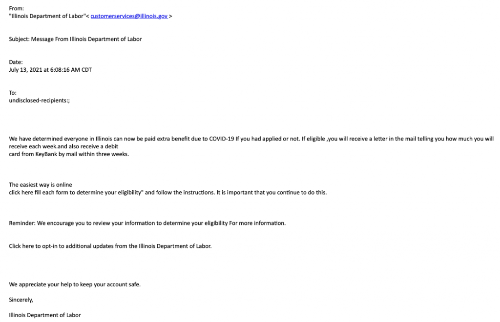 Email purporting to be from the IL Department of Labor about COVID payment benefits