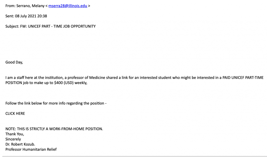 Email from a spoofed or compromised university email address with a fake job offer to work for UNICEF