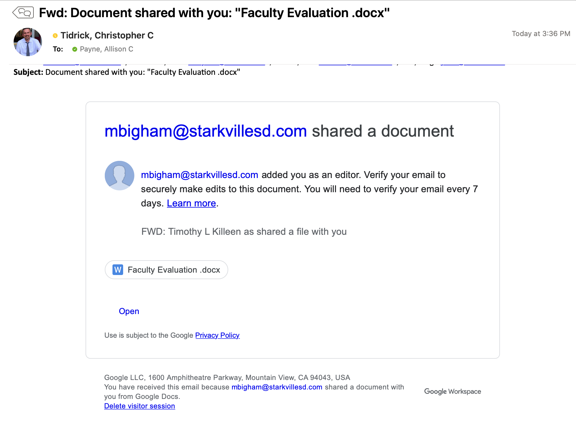 screenshot of fake google share email with link to docx faculty eval form
