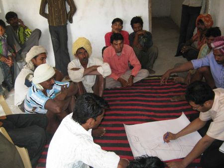 Resource map being created in Bodgaon, Alirajpur. Credits: ADM Institute/MART.