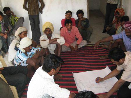 Resource map being created in Bodgaon, Alirajpur. Credits: ADM Institute/MART.