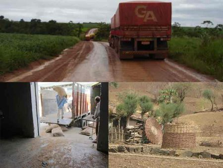 Top: Trucks on dirt roads in Mato Grosso, Brazil, where transport is a major source of loss; Bottom-left: Workers transport gunnysacks to a vehicle from a storage facility in India; Bottom-right: A storage facility being constructed in Alirajpur, India. Credits: ADM Institute/Pete Goldsmith, Ximing Cai, and MART.