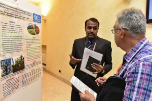 Vijay Tokala presents at the poster session on Day 1 of the congress.