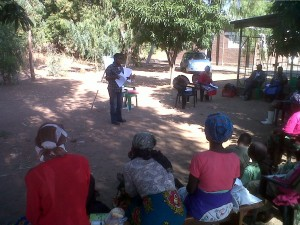 Training farmers on proper postharvest vegetable management at Ngolowingo Cooperative, Salima district, Malawi.