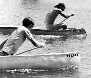 Illinois leads Purdue in the first-ever inter-collegiate concrete canoe race. May 16, 1971