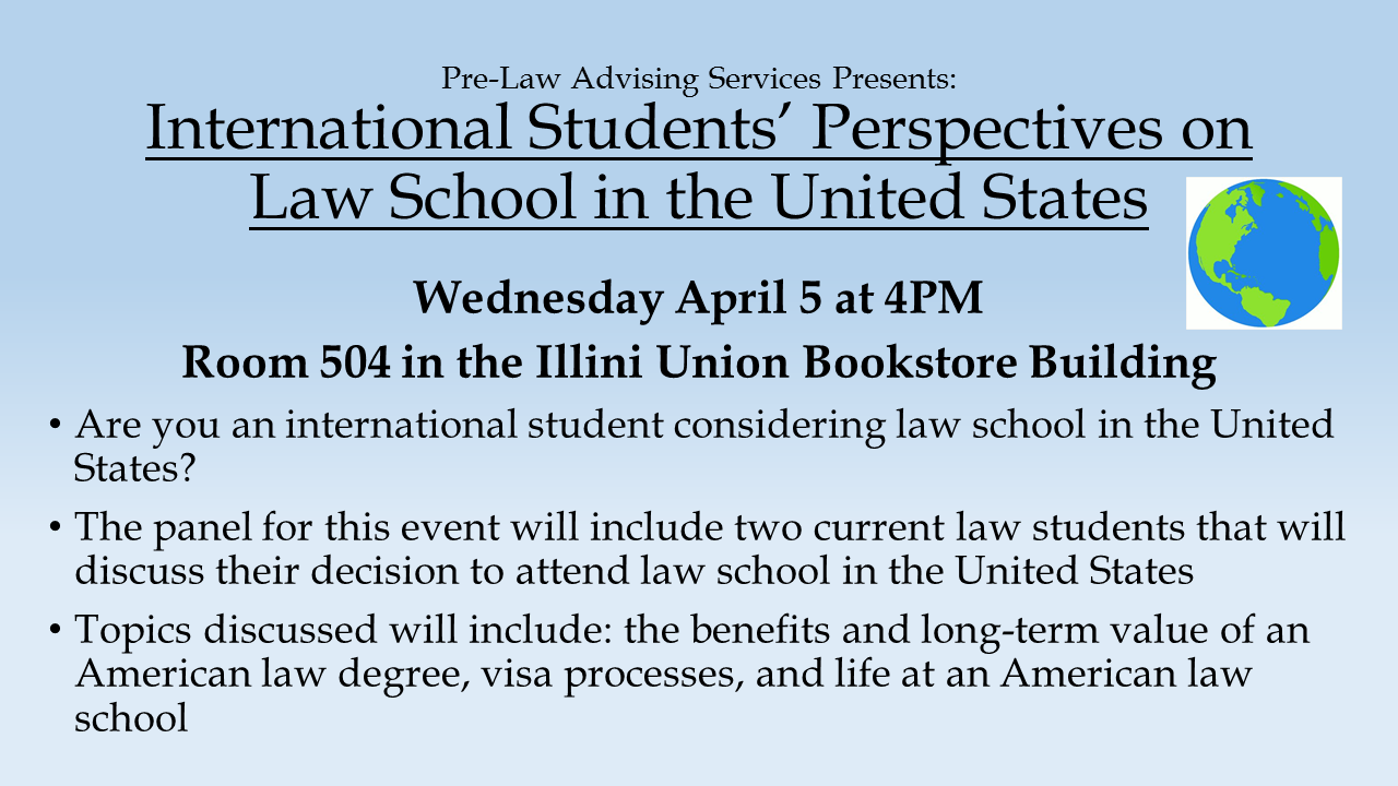 pre law advising services blog publishing pre law news events international students paths to u s legal education wednesday 5 4 5pm room 504 iub are you an international student considering law school in