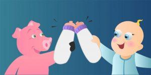 Piglet and Baby milk bottle cheers