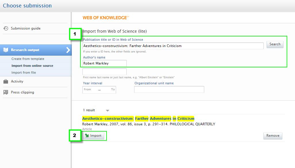 Web of Science import module