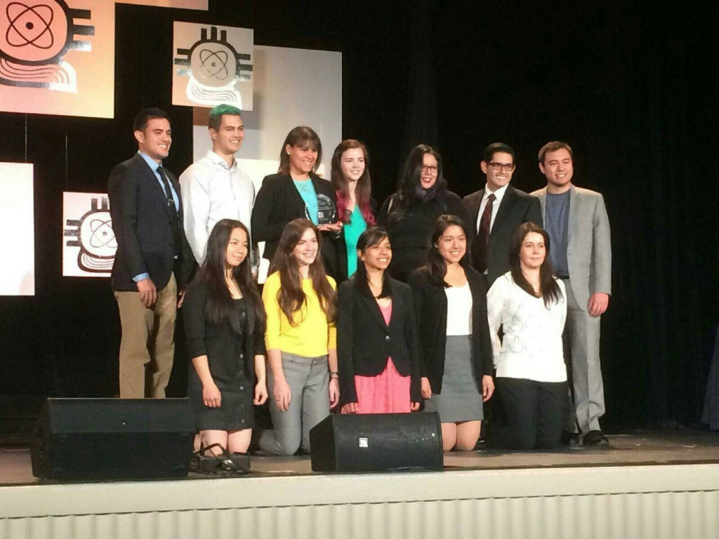 UIUC SACNAS on stage receiving Chapter of the Year award