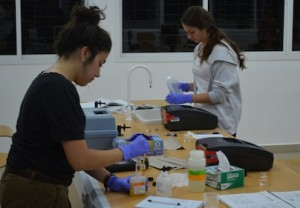 Two female researchers in a laboratory testing samples
