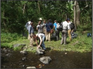 A group of people standing next to a small stream