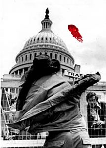 4/23/71 - An antiwar protester heaves his medals over a fence in front of the Capitol 4/23 as part of the Vietnam Veterans Against the War demonstration. The veterans are winding up a week of demonstrations against the fighting in Indochina by discarding their combat medals on the steps of the Capitol. UPI photo