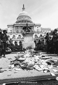 Vietnam War Demonstrations Veterans from the war converged on the Capital building in Washington and threw away their bravery medals ribons and comendations in protest at the continuing war in Vietnam msi