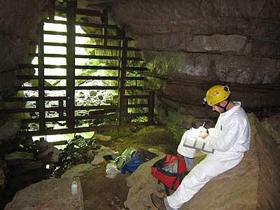 Aron Katz in a cave
