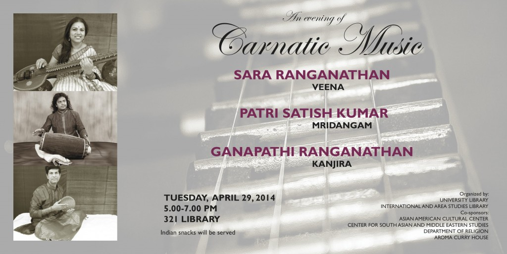 An Evening of Carnatic Violin, April 27th, 5-7 PM, in 321 Library